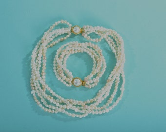 Vintage Fresh Water Pearl Necklace - Blush Bracelet Set - Bridal Fashions
