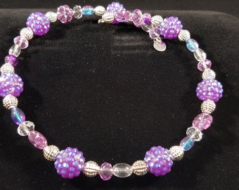 Purple, Pink, Silver and Clear Memory Wire Necklace