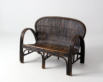 FREE SHIP  antique Chinese bench, children's rattan love seat