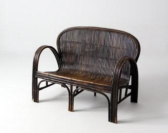 antique Chinese bench, children's rattan love seat