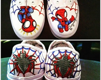 Custom Spiderman Canvas Shoes (Vans, Toms, slip-ons, lace-ups)