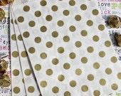 75 Gold Metallic Polka Dot Candy Bags, Gold Polka Dot Party Bags, Gold Wedding Favor Bags, Popcorn Bags, Gift Bags