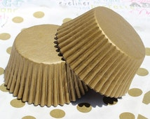 100 Gold Shimmer Cupcake Liners, Gold Shimmer Baking Cups, Gold Wedding Cupcake Liners - Professional Grade and Greaseproof Cupcake Liners