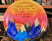"""Dr. Seuss """"You're off to great places"""" Large hand painted platter - Decorative - Quote - Oh The Places You'll Go - Mountains with sunrise"""