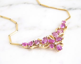 Vintage Pink Sapphire & Old European Diamond Cluster Pendant Necklace 14k Yellow Gold/ Estate Retro
