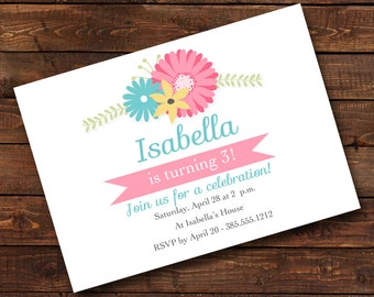 Birthday Invitation, First Birthday Invitation, Girl Birthday Invitation, floral invitation