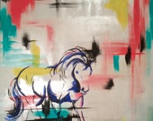 """Abstract Horse Painting - """"One Rainy Morning"""""""