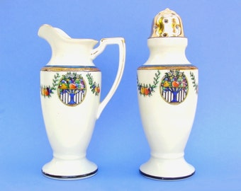 Antique Porcelain Dinnerware Noritake Muffiner Set Art Deco Sugar Caster & Pitcher Set Royal Blue Fruit Medallion White Bone China