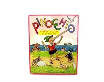 Antique Platt & Monk Puzzle Set 6 Pinocchio Children's Puzzles Nursery Art Vintage Toys Rare 1940s First Edition