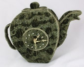 Bubble Tea Time Teapot Clock green Storage vessel tea bags and tea cups Art Clock Unique free standing clock mantle clock kitchen clock