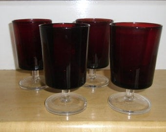 vintage luminarc glasses ruby red water goblets clear footed france