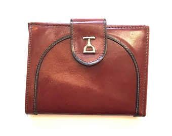 Vintage 1970s small caramel brown leather Baronet wallet looks like Gucci