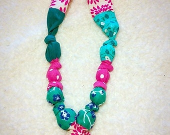 Teething, nursing, fabric necklace, silicone chew pendant, jewelry for mom, breastfeeding, baby wearing
