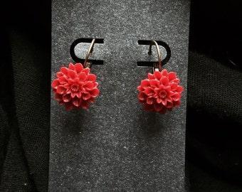 Mums the Word Drop Earrings in Scarlet