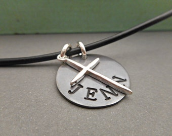 Personalized Gift for Godfather - Mens Necklace - Cross Necklace - Cross Pendant - Silver Cross - From Godchild - Hand Stamped - Pendant
