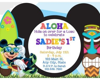 Mickey Mouse Luau, Pool Party, or Hawaiian Birthday Party Invitation