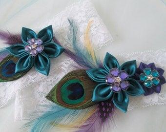 Peacock Wedding Garter Set, Teal & Purple Garters, White Lace Bridal Garter, Feather Garters w/ Kanzashi Flowers, Unique Garter