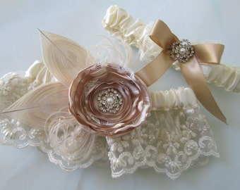 Champagne Peacock Wedding Garter Set, Ivory Bridal Lace Garter, Cream Bridal Garter w/ Rose & Pearls, Vintage / Gatsby / Rustic Country
