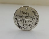 new design carved life inspirations circle charms 20 pcs-F1473