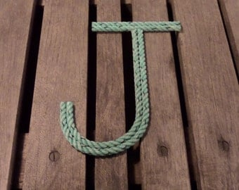 "8"" Rope Letters Personalize MADE TO ORDER Alphabet Nautical Decor Text Letters Natural or Green"