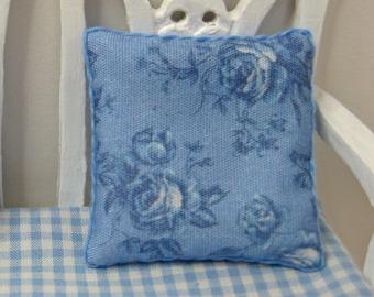 Dollshouse Miniature Cushion, Pillow. Dark Blue Roses.