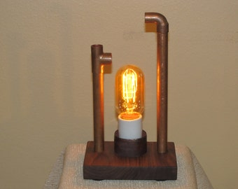 Found Metal Artifact Lamp 294 With Vintage Style Light Bulb