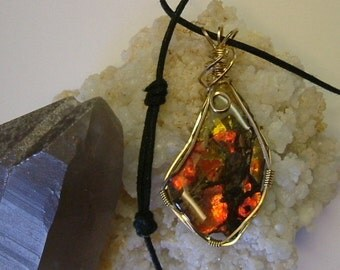Bright Red, Green and Yellow Fire Ammolite from Utah Deposit Gold Filled Wire Wrap Pendant 354