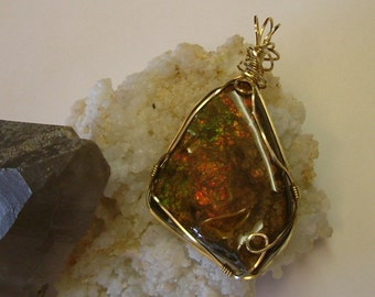 Beautiful Large, Bright Red to Orange Fire Ammolite from Utah Deposit Gold Filled Wire Wrap Pendant 372