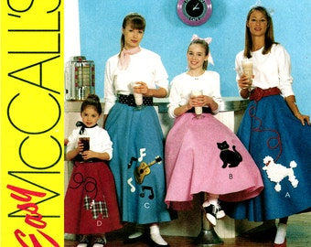 1950s Skirt Pattern Uncut McCalls M6101 Poodle Circle Skirt Sock Hop Costume Rockabilly Applique Felt Skirt Crinoline Womens Sewing Patterns