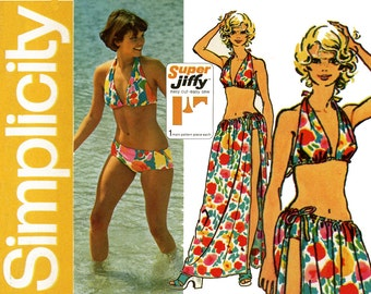 1970s Bathing Suit Pattern Simplicity 5644 Two Piece Bikini Swim Suit and Tie On Maxi Wrap Skirt Cover Up Womens Vintage Sewing Patterns