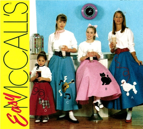 1950s Skirt Pattern Uncut McCalls M6101 Poodle Circle Skirt Sock Hop Costume Rockabilly Applique Felt Skirt Crinoline Womens Sewing Patterns