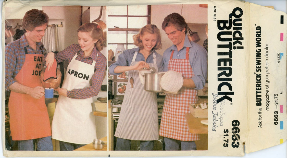 unisex apron pattern uncut butterick 6663 his and hers monogrammed full bib aprons oven mitts