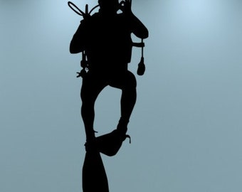 Scuba Diver Vinyl Decal Wall Art Diver Wall Decal Underwater swimmer
