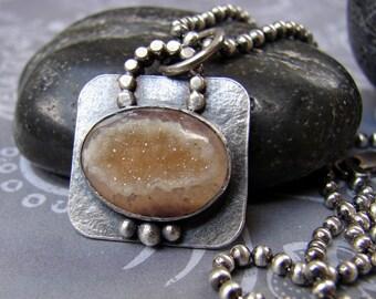 Druzy Quartz Cabochon Necklace, Sterling Silver Bezel Set Pendant, Rectangular Quartz Pendant Bead Chain Necklace