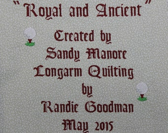 "Quilt Label: Custom Extra Large embroidered label about 7"" x 7"""