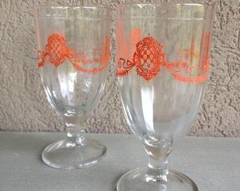 Vintage Juice Glasses Red Crest Pedestal Footed Crested Water Goblets - #