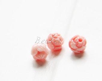 4 Pieces / Flower / Rose / Light Pink / Lotus / Resin / Beads / Light Weight / Pendant / 6mm (Q//M619)