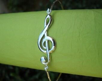 """Silver Bracelet - Silver Bangle - Sterling Silver """"G"""" Clef Bangle - Treble Clef Bangle - Music Note Bracelet"""