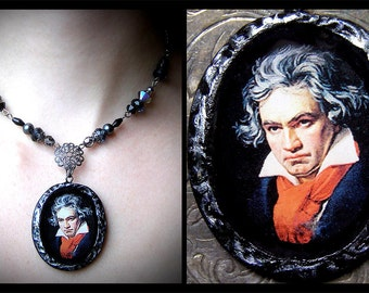 Ludwig van Beethoven, classical composer polymer clay portrait pendant, Romantic, Victorian, Vintage, regency, music, pianist, glass
