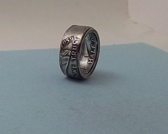 Unique Father's Day Gift.  Silver coin ring 1959 Franklin Half dollar 90% fine silver jewelry size 8 1/2