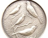 "Vintage Art Medal THE BIRDS by JCV Pendant on 18"" sterling silver rolo chain"
