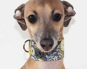 Funky Floral Italian Greyhound Collar in Grey and Yellow lined with Yellow Satin in 3 styles - for info - see details