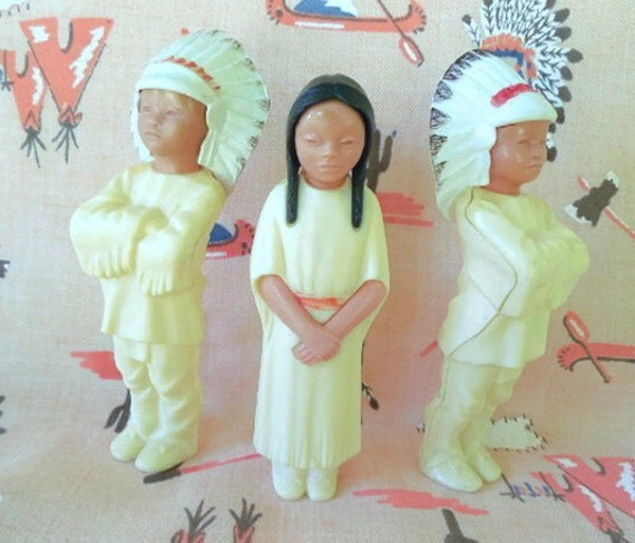 Celluloid Plastic Indian Figures: Set of 3