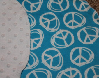 Blue and White Peace Sign Burp Cloth With MInky