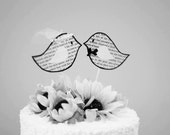 Vintage Paper Chubby Love Birds Cake Topper