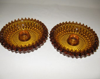 Amber Diamond Point Indiana Glass Co Qty 2 Candle Stick Holders 1965-1980