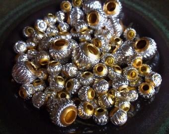 101 Dark Gold And Light Gold Lantern Aluminum Beads