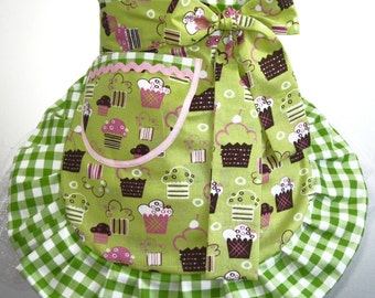 Last one Lime Green Cupcake Apron