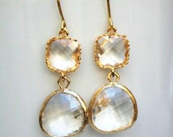 Gold Crystal Drop Earrings. Clear Earrings. Bridesmaid Earrings. Bridal Jewelry. Wedding Earrings. Gold Drop Earrings. Bridesmaid Gifts.Mom
