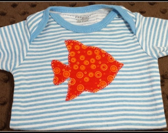 UPCYCLED Blue and white striped 0nesie with appliqued orange fish - Size 0-3 mo